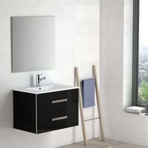 Eviva Astoria 28 In. Black Modern Bathroom Vanity With White Integrated Porcelain Sink