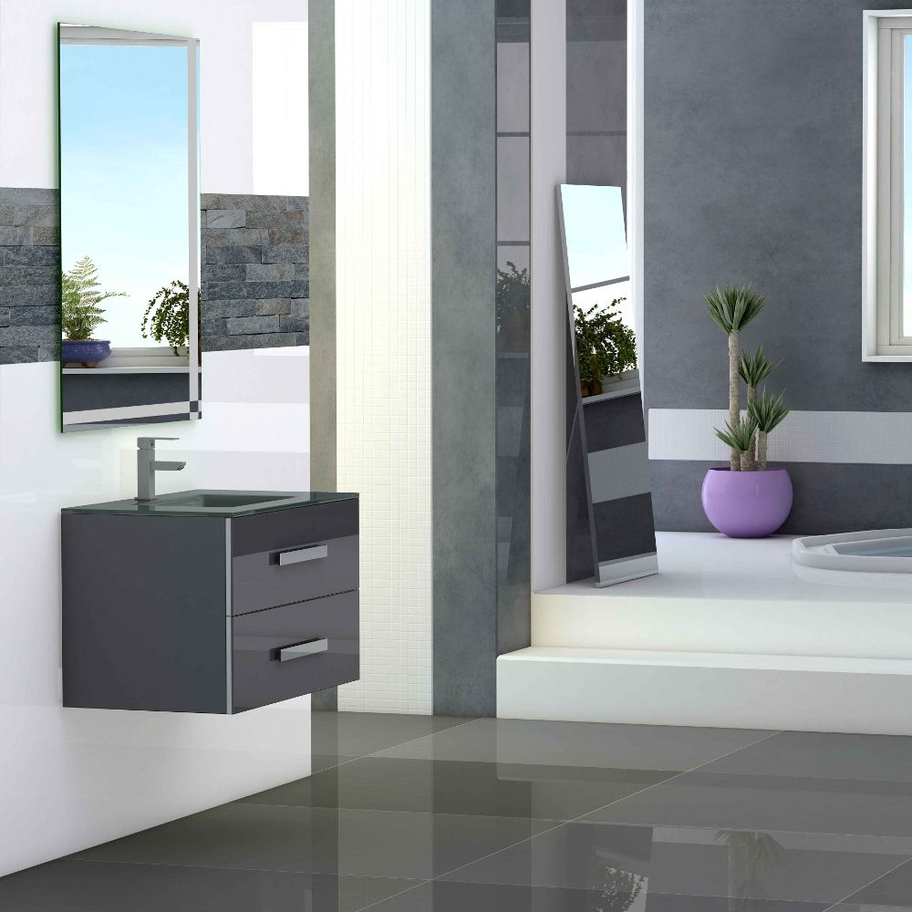 Eviva Astoria 28 In. Grey Modern Bathroom Vanity With White Integrated Porcelain Sink