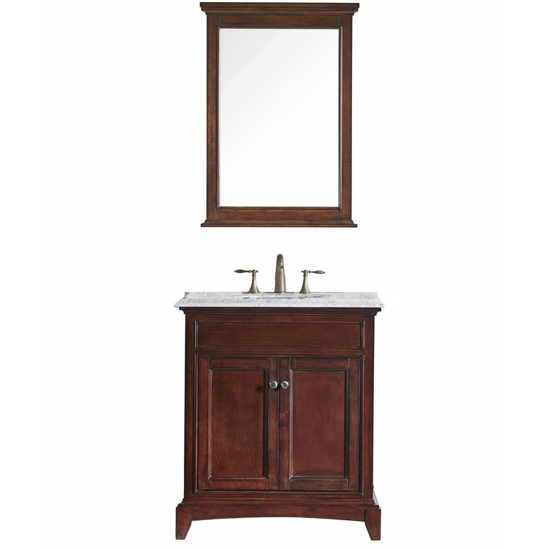Eviva Elite Stamford 30 In. Brown Solid Wood Bathroom Vanity Set With Double Og White Carrara Marble Top and White Undermount Porcelain Sink
