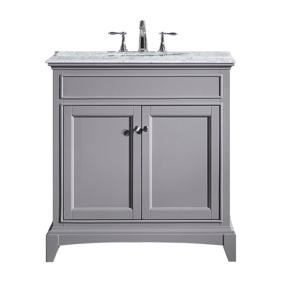 Eviva Elite Stamford 30 In. Gray Solid Wood Bathroom Vanity Set With Double Og White Carrera Marble Top and White Undermount Porcelain Sink
