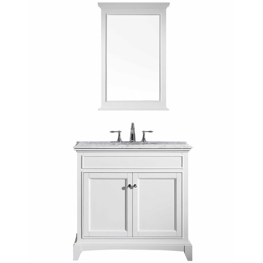 Eviva Elite Stamford 36 In. White Solid Wood Bathroom Vanity Set With Double Og White Carrera Marble Top and White Undermount Porcelain Sink