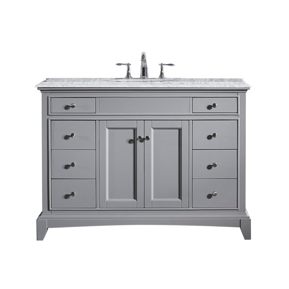 Eviva Elite Stamford 48 In. Gray Solid Wood Bathroom Vanity Set With Double Og White Carrera Marble Top and White Undermount Porcelain Sink