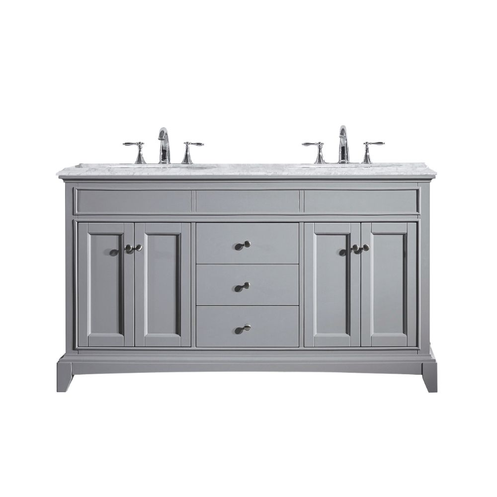 Eviva Elite Stamford 60 In. Gray Solid Wood Bathroom Vanity Set With Double Og White Carrera Marble Top and White Undermount Porcelain Sinks