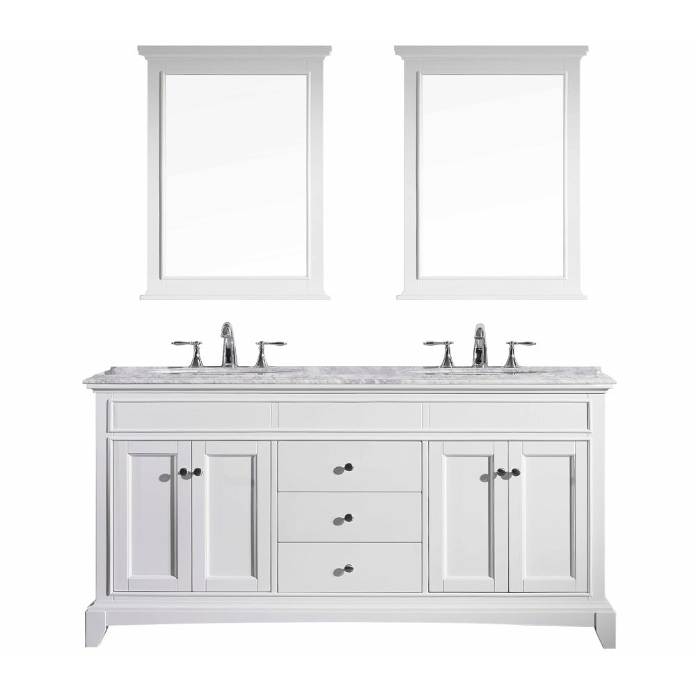 Eviva Elite Stamford 72 In. White Solid Wood Bathroom Vanity Set With Double Og White Carrera Marble Top and White Undermount Porcelain Sinks