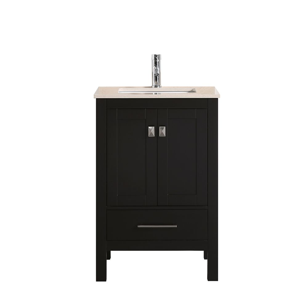 Eviva London 30 In. Transitional Espresso Bathroom Vanity With Crema Marfil Marble Countertop