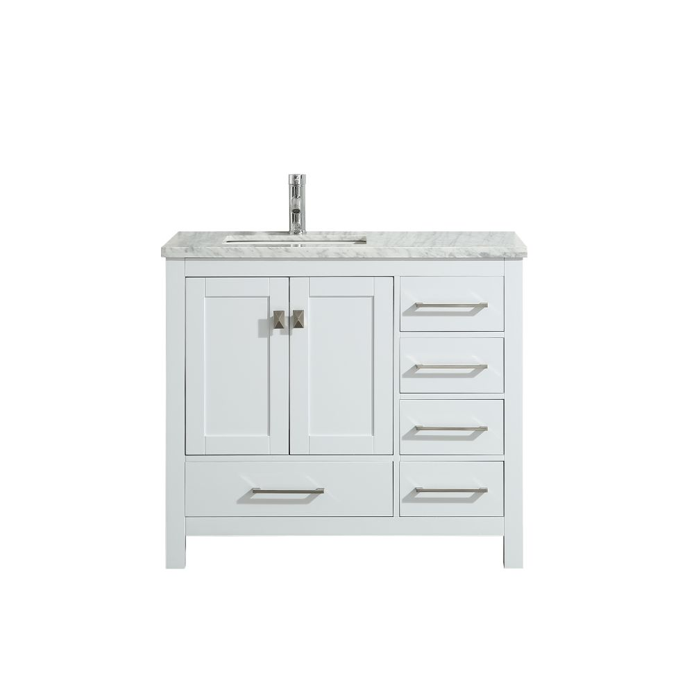 Eviva London 36 In. Transitional White Bathroom Vanity With White Carrara Marble Countertop