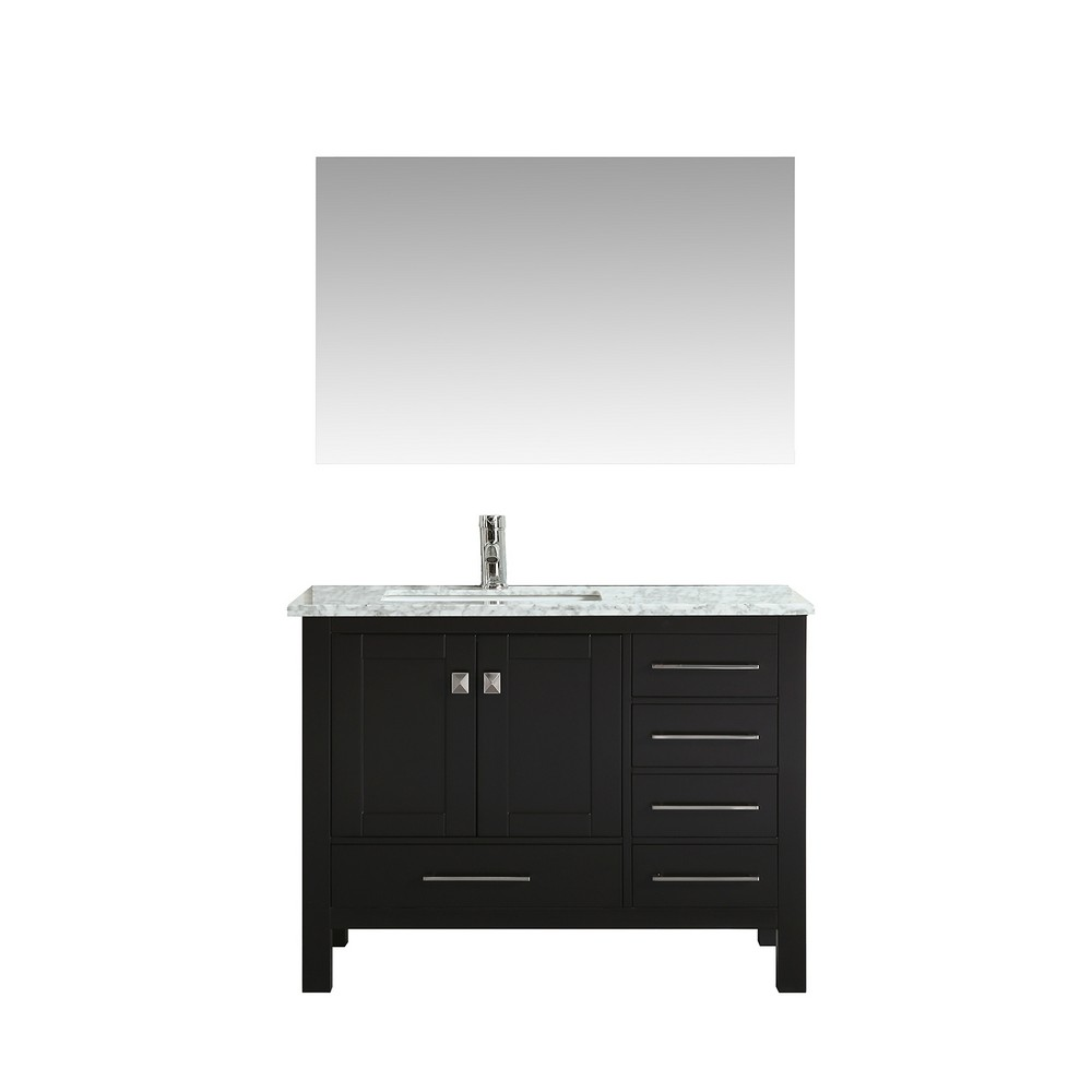 Eviva London 42 In. Transitional Espresso Bathroom Vanity With White Carrara Marble Countertop