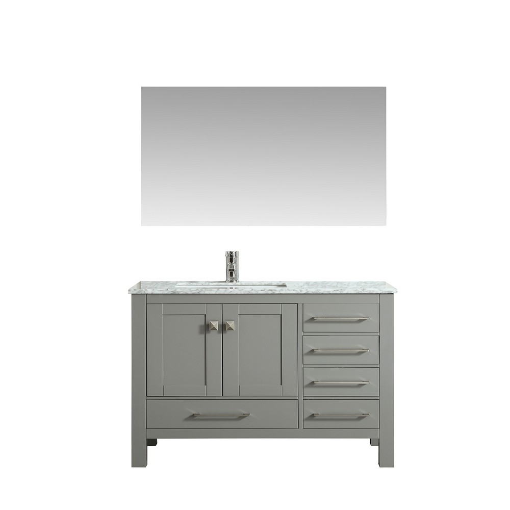 Eviva London 42 In. Transitional Gray Bathroom Vanity With White Carrara Marble Countertop