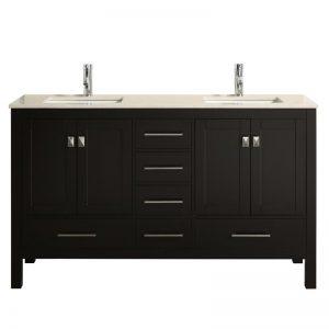Eviva London 60 inch Transitional Espresso Bathroom Vanity With Crema Marfil Marble Countertop