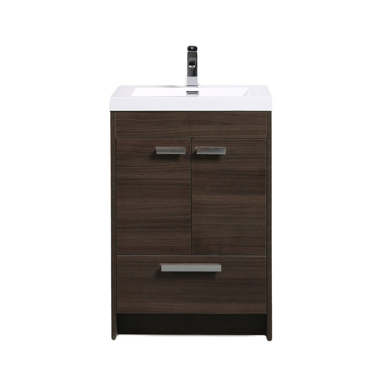Eviva Lugano 24 In. Grey Oak Modern Bathroom Vanity With White Integrated Acrylic Sink