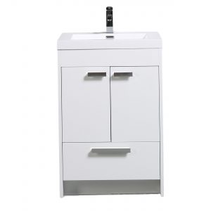 Eviva Lugano 24 In. White Modern Bathroom Vanity With White Integrated Acrylic Sink