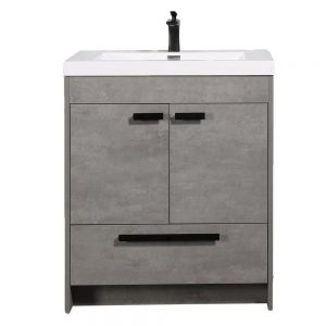 Eviva Lugano 30 In. Cement Gray Modern Bathroom Vanity With White Integrated Acrylic Sink