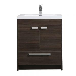 Eviva Lugano 30 In. Grey Oak Modern Bathroom Vanity With White Integrated Acrylic Sink