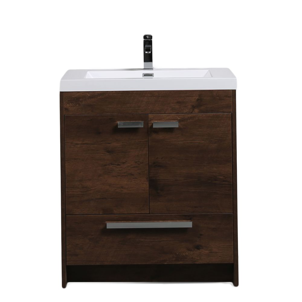 Eviva Lugano 30 In. Rosewood Modern Bathroom Vanity With White Integrated Acrylic Sink