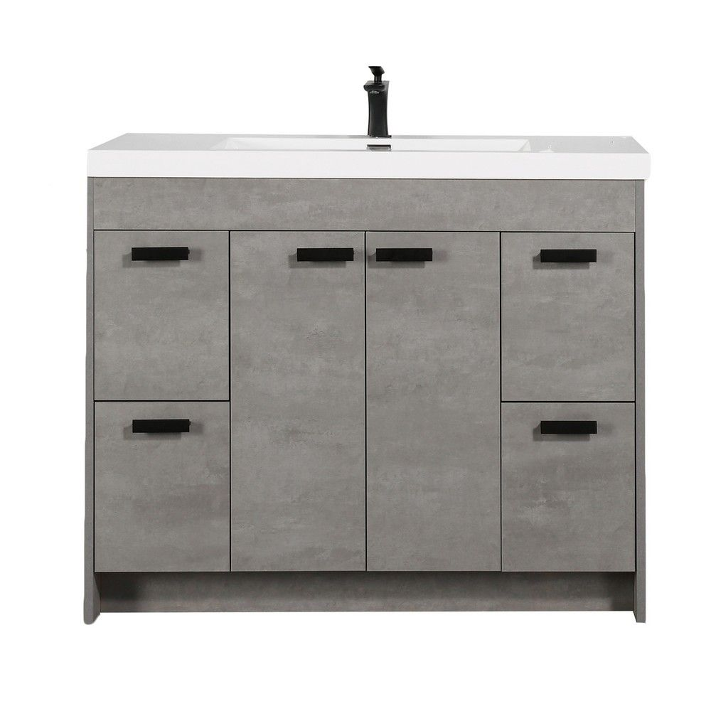 Eviva Lugano 42 In. Cement Gray Modern Bathroom Vanity With White Integrated Acrylic Sink