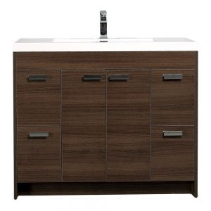 Eviva Lugano 42 In. Gray Oak Modern Bathroom Vanity With White Integrated Acrylic Sink