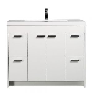 Eviva Lugano 42 In. White Modern Bathroom Vanity With White Integrated Acrylic Sink
