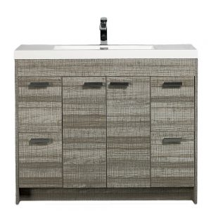 Eviva Lugano 48 In. Ash Modern Bathroom Vanity With White Integrated Acrylic Sink