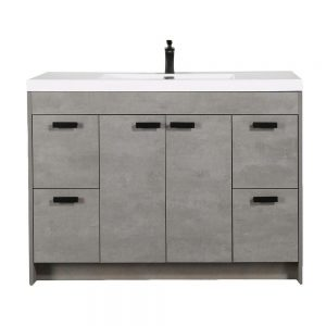 Eviva Lugano 48 In. Cement Gray Modern Bathroom Vanity With White Integrated Acrylic Sink
