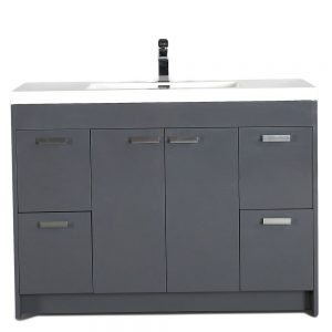 Eviva Lugano 48 In. Gray Modern Bathroom Vanity With White Integrated Acrylic Sink