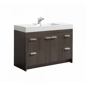 Eviva Lugano 48 In. Grey Oak Modern Bathroom Vanity With White Integrated Acrylic Sink