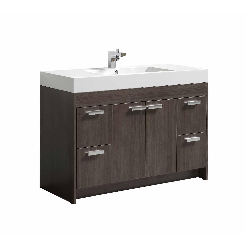 Eviva Lugano 48 In. Grey Oak Modern Bathroom Vanity With White Integrated Acrylic Sink