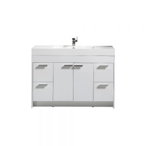 Eviva Lugano 48 In. White Modern Bathroom Vanity With White Integrated Acrylic Sink