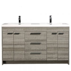 Eviva Lugano 60 In. Ash Modern Double Bathroom Vanity With White Integrated Acrylic Sink