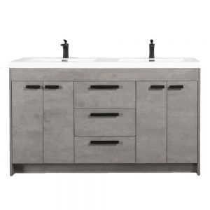 Eviva Lugano 60 In. Cement Gray Modern Double Bathroom Vanity With White Integrated Acrylic Sink