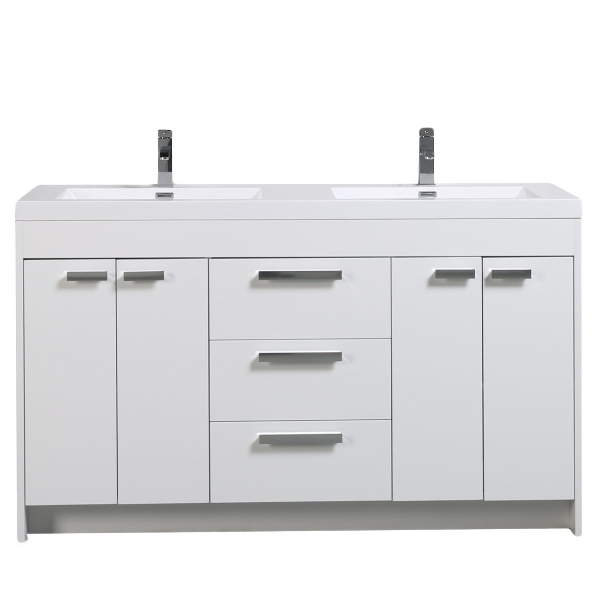 Eviva Lugano 60 In. White Modern Bathroom Vanity With White Integrated Acrylic Double Sink