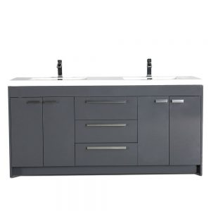 Eviva Lugano 72 In. Gray Modern Double Bathroom Vanity With White Integrated Acrylic Sink