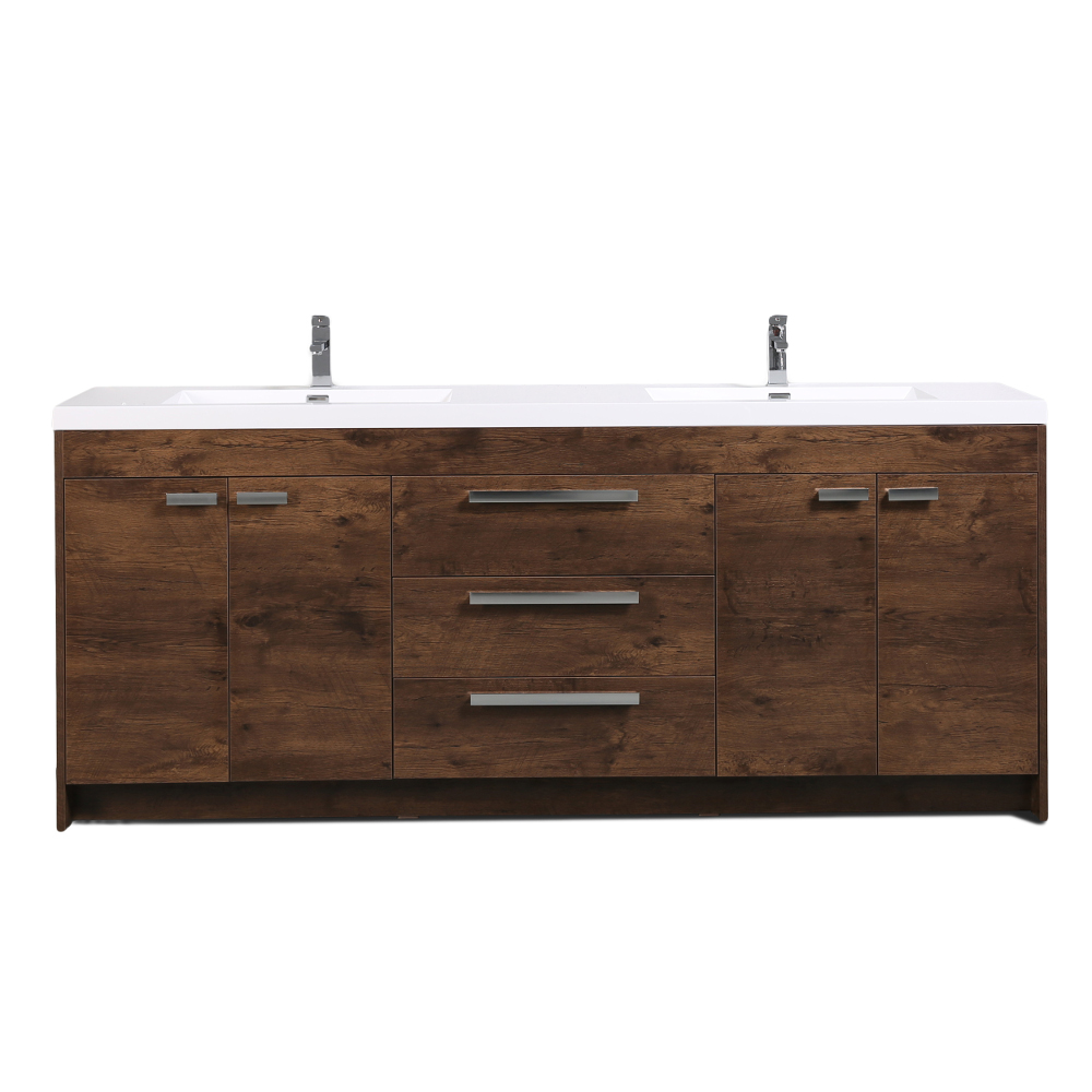 Eviva Lugano 84 In. Rosewood Modern Bathroom Vanity With White Integrated Acrylic Double Sink