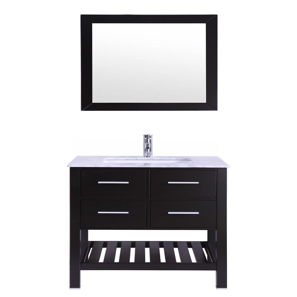 Eviva Natalie 30 inch Espresso Bathroom Vanity with White Jazz Marble Counter-Top