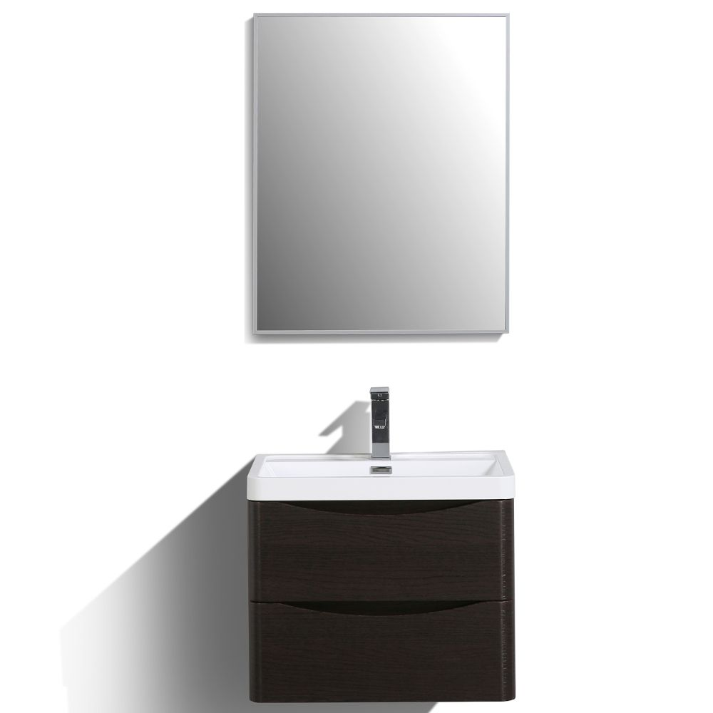 Eviva Smile 24 in. Wall Mount Chestnut Modern Bathroom Vanity Set with Integrated White Acrylic Sink