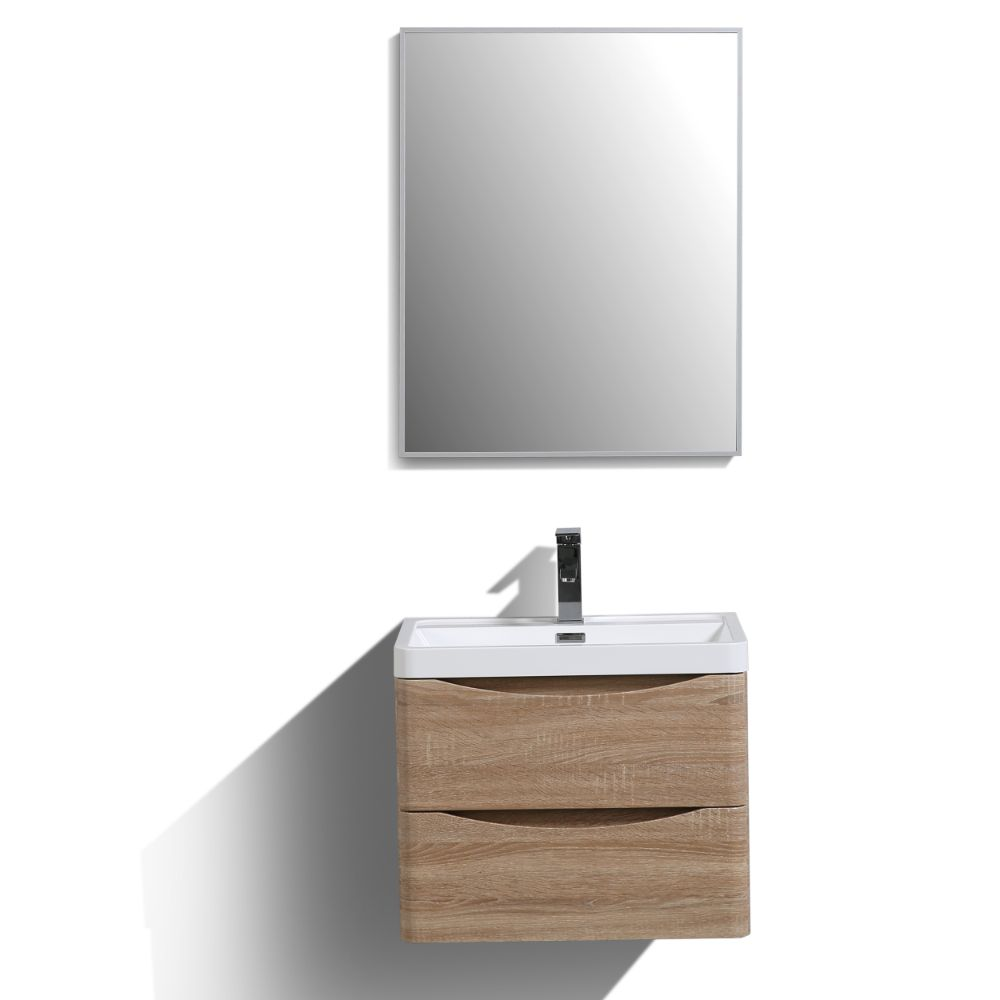 Eviva Smile 24 in. Wall Mount White Oak Modern Bathroom Vanity Set with Integrated White Acrylic Sink