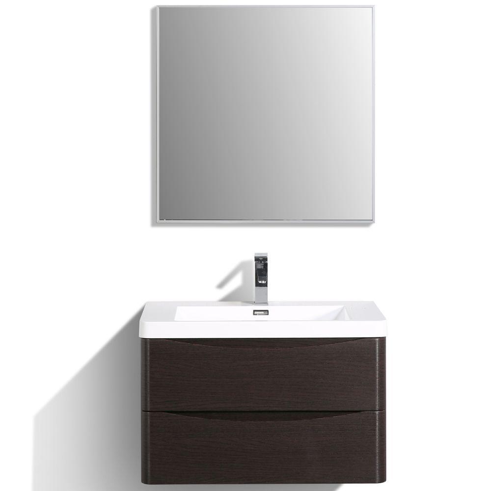 Eviva Smile 30 in. Wall Mount Chestnut Modern Bathroom Vanity Set with Integrated White Acrylic Sink