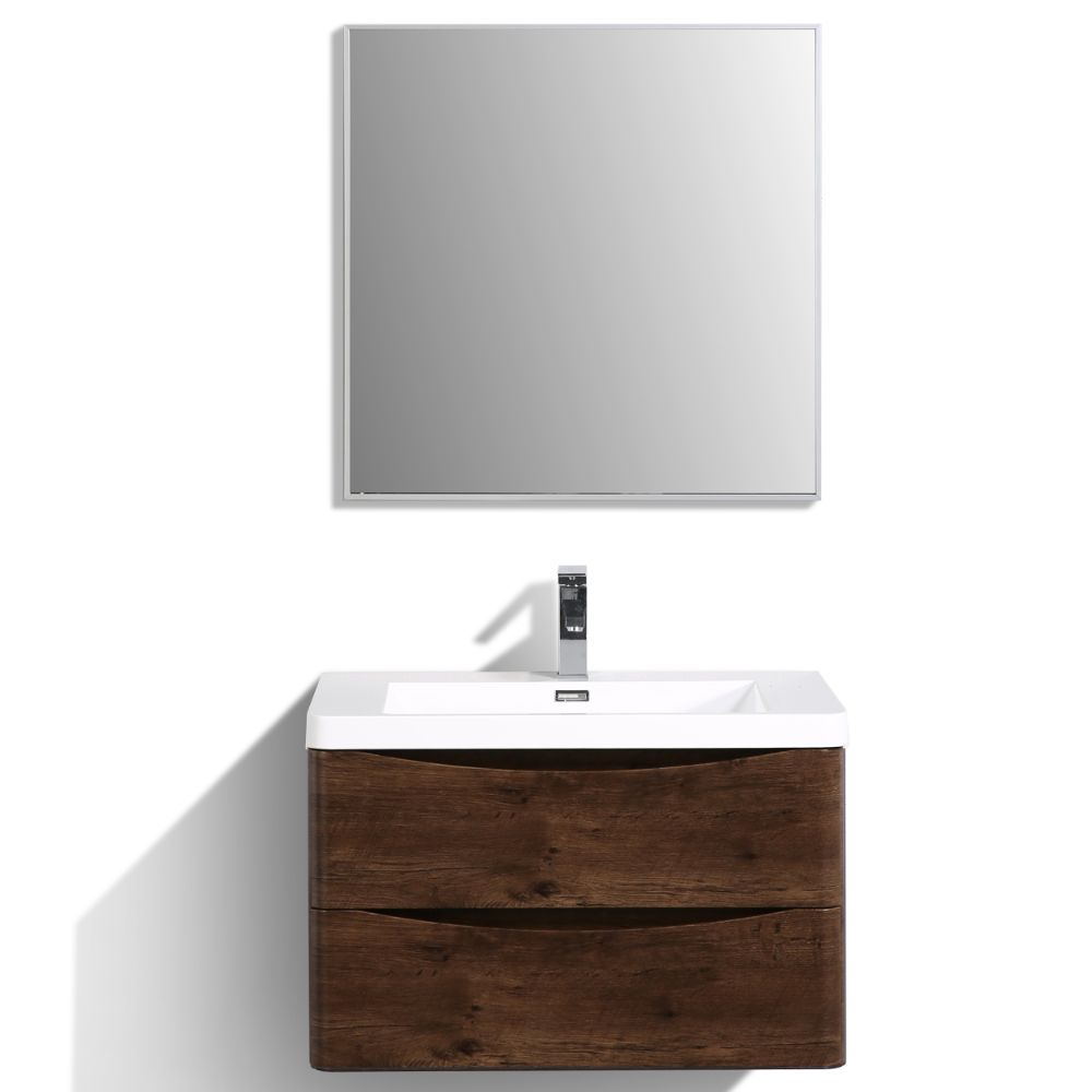 Eviva Smile 30 in. Wall Mount Rosewood Modern Bathroom Vanity Set with Integrated White Acrylic Sink