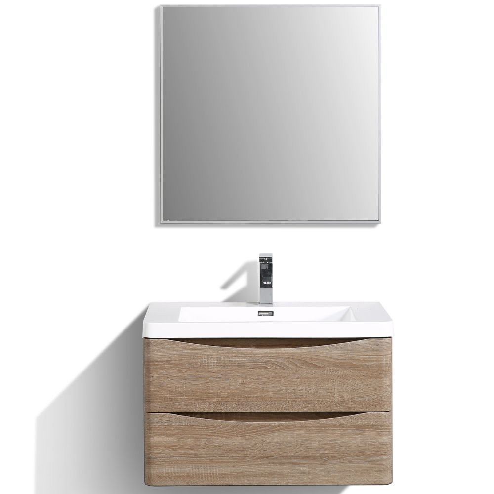 Eviva Smile 30 in. Wall Mount White Oak Modern Bathroom Vanity Set with Integrated White Acrylic Sink