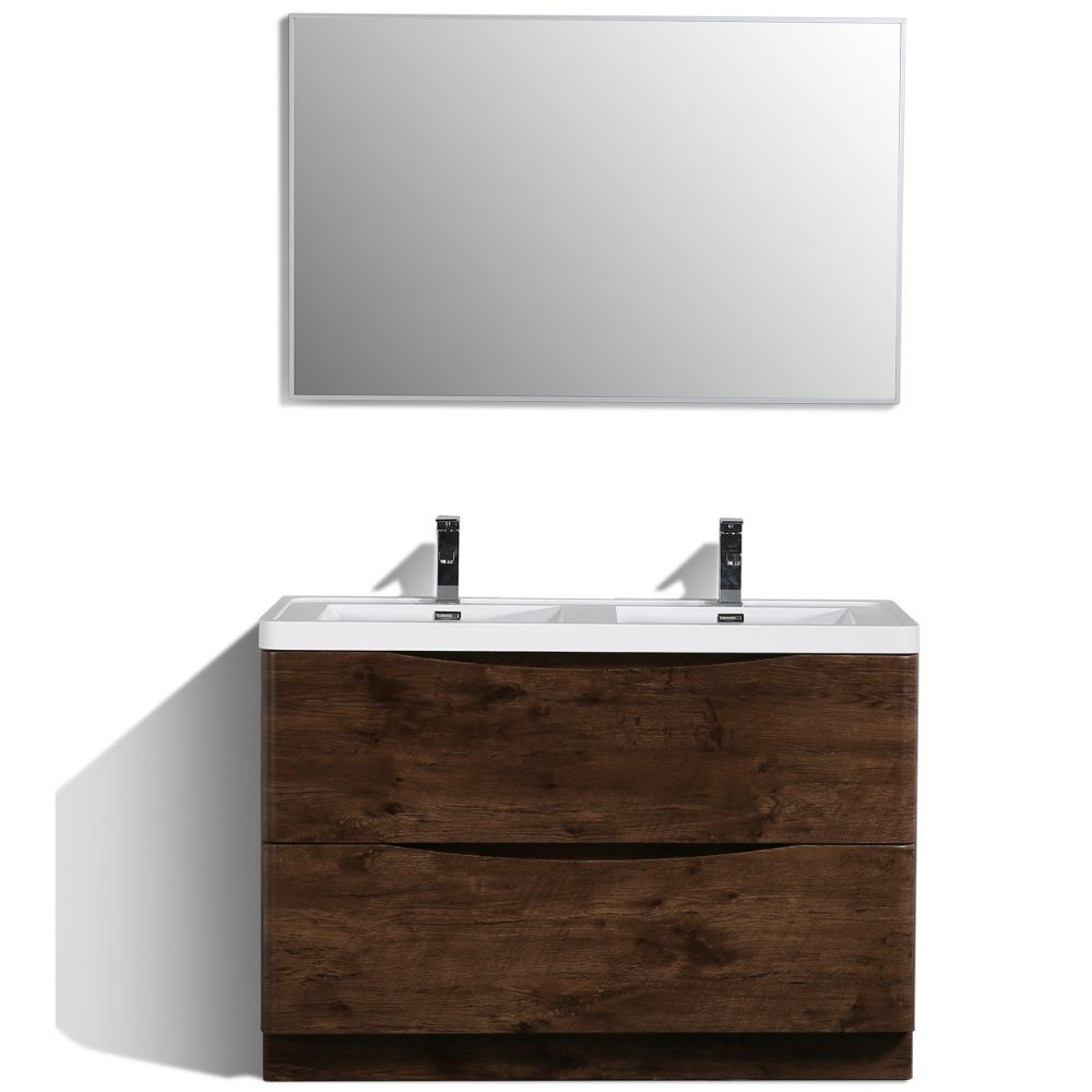 Eviva Smile 48 in. Freestanding Rosewood Modern Double Bathroom Vanity Set with Integrated White Acrylic Sink
