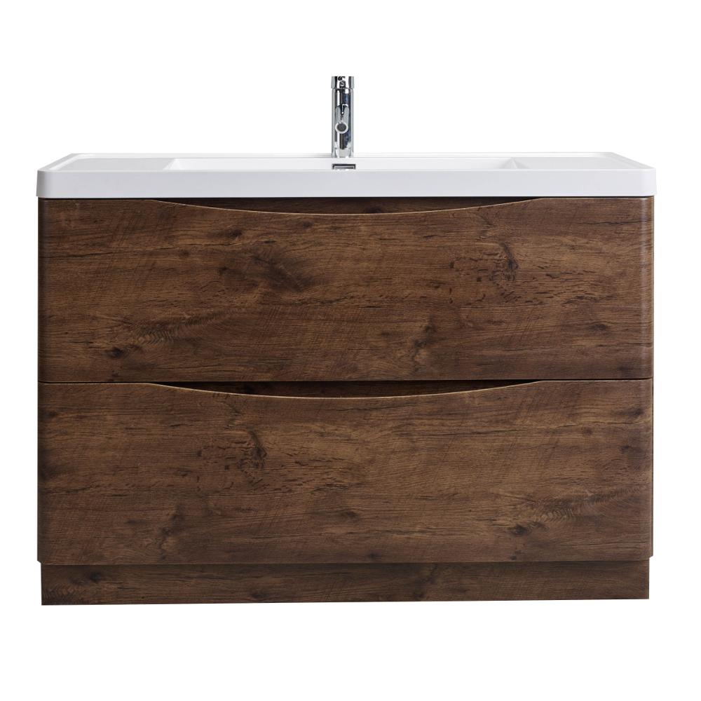 Eviva Smile 48 in. Freestanding Rosewood Modern Single Bathroom Vanity Set with Integrated White Acrylic Sink