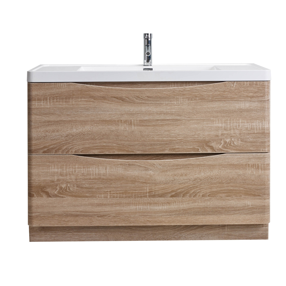 Eviva Smile 48 in. Freestanding White Oak Modern Single Bathroom Vanity Set with Integrated White Acrylic Sink