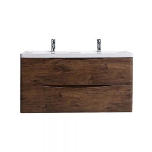 Eviva Smile 48 in. Wall Mount Rosewood Modern Double Bathroom Vanity Set with Integrated White Acrylic Sink