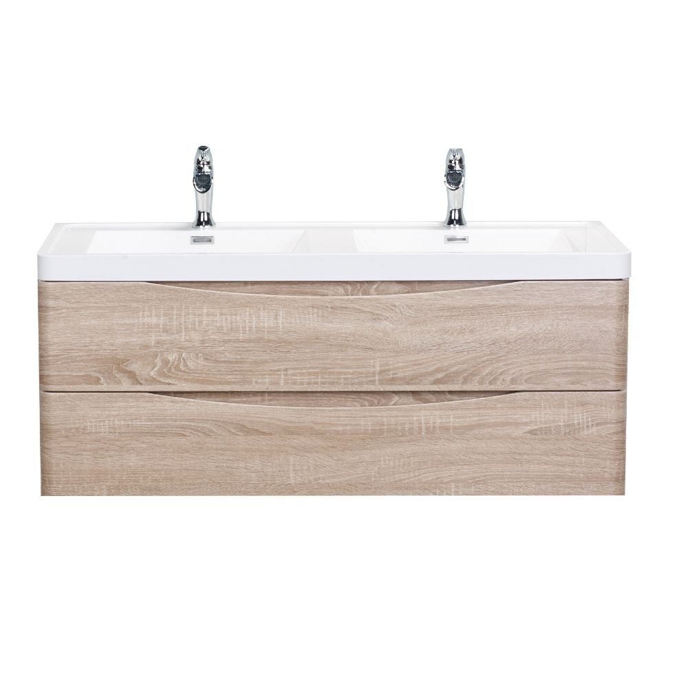 Eviva Smile 48 in. Wall Mount White Oak Modern Double Bathroom Vanity Set with Integrated White Acrylic Sink