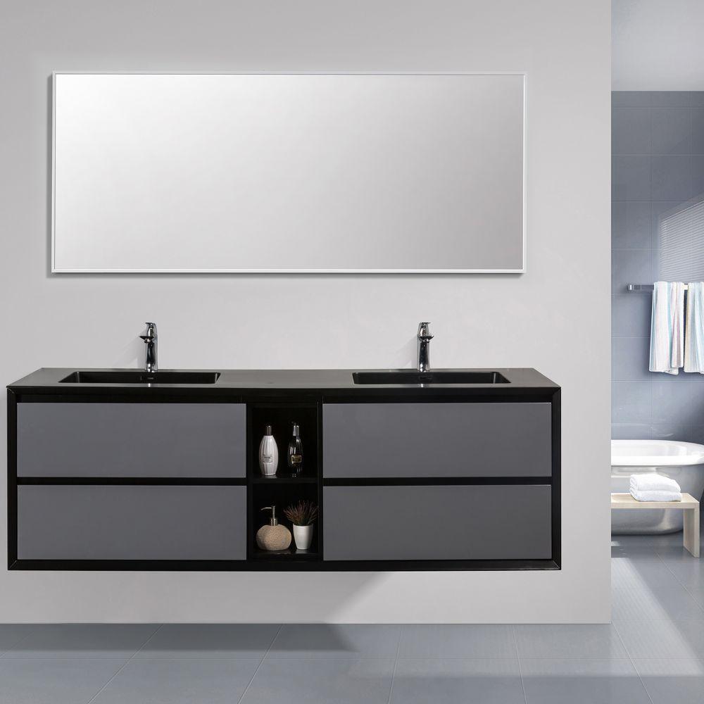 Eviva Vienna 75 inch Gray Black Wall Mount Bathroom Vanity