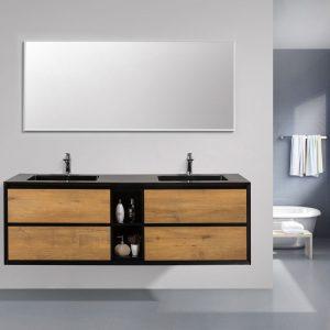 Eviva Vienna 75 inch Oak Black Wall Mount Bathroom Vanity