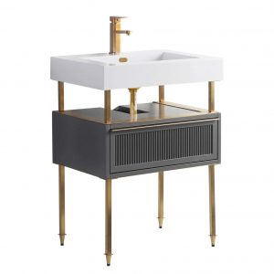 "Dakota 24"" Modern Bathroom Vanity  Rock Gray with Satin Brass Hardware"