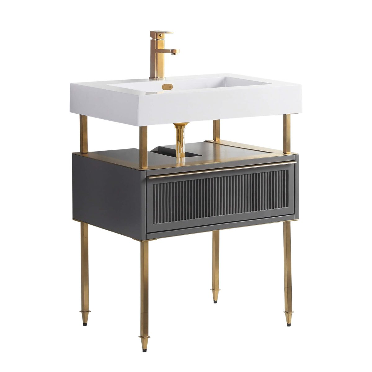 "Dakota 30"" Modern Bathroom Vanity  Rock Gray with Satin Brass Hardware"