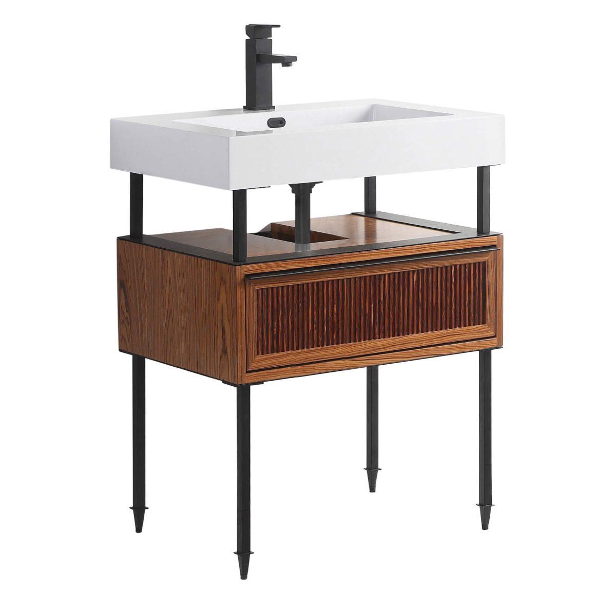 "Dakota 30"" Modern Bathroom Vanity  Teak Brown with Black Hardware"
