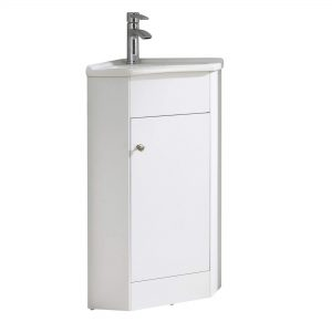 "Englewood 22"" Modern Corner Bathroom Vanity White"