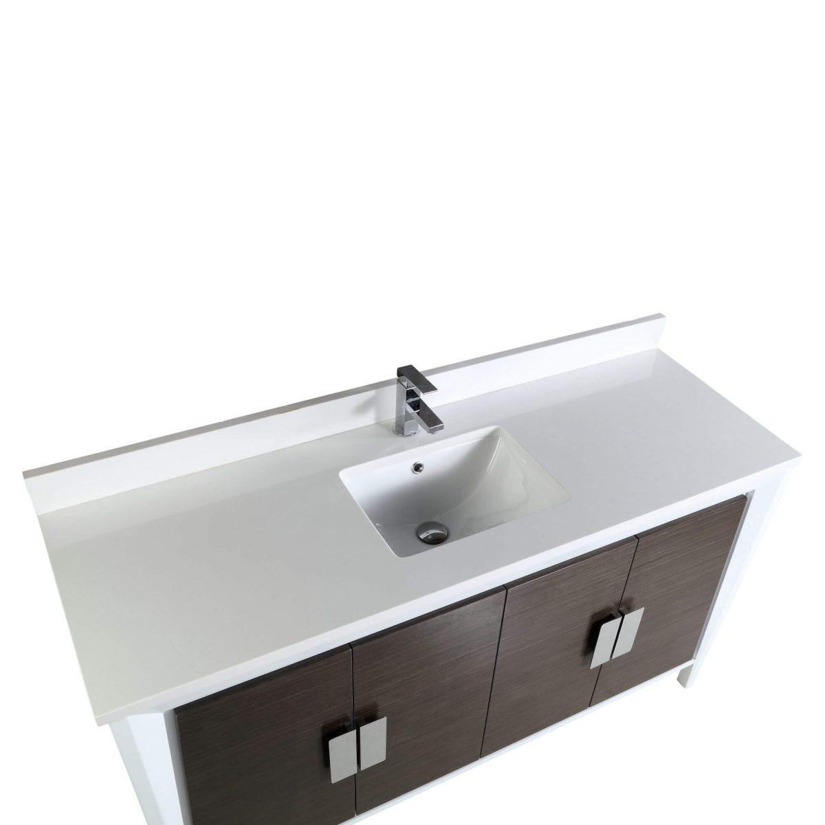 "Imperial II Modern Bathroom Vanity 60""  Gray and White"